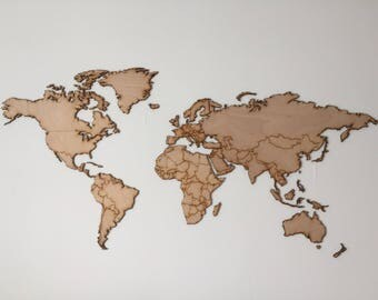 World map Wood Wall deco