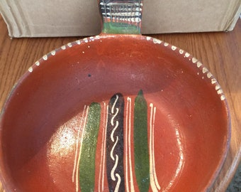 Vintage Mexican Folk Art Hand Painted Clay Pot