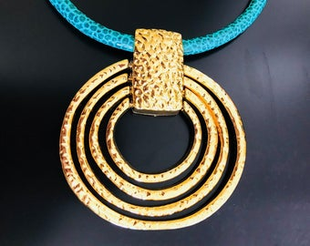 Leather Necklace with 24K Gold Plated Pendant
