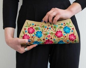 Floral Purse, Embroidered Handbag, Beige Clutch Bag, Spring Summer Clutch, Ethnic Handbag, Pretty Boho Bag, Vegan Handbag, Mothers Day Gift