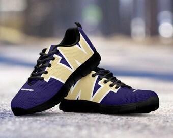 Washington Huskies Football Fan Custom Black Running Shoes/Sneakers/Trainers - Ladies + Mens Sizes fan, collector, gift