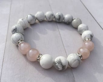 White Howlite Natural Stone 10mm Bracelet w/pink accent & Rhinestone Spacers