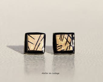 Gold and black glass Stud Earrings