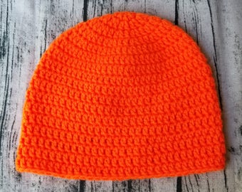 Adult crochet orange beanie