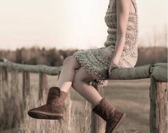 Handmade Crochet dress / Spring dress / Brown little dress / boho style / festival dress / cotton dress / hippie dress