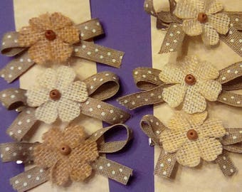 Set of three ribbon and burlap hair clips