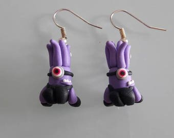 Purple minion earring fimo