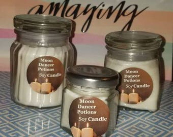 Soy Candle Crystal Quartz Infused / breathe easy / Anxiety / Relax