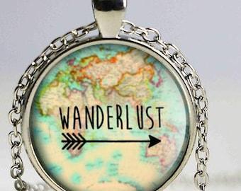 Wanderlust Bohemian Glass Pendant *FREE SHIPPING* , Wanderlust Necklace, Wanderlust Pendant, Wanderlust Jewelry, Map, Gift for Traveler