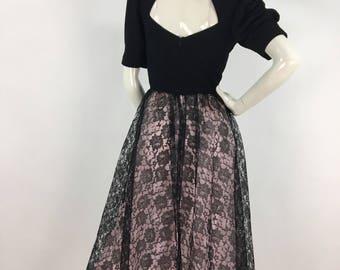 1970s Nancy G midi dress/70s midi dress black lace bottom