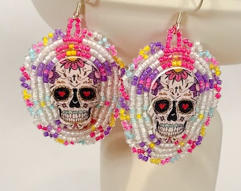 Day of the Dead Beaded Earrings