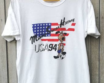 Vintage 1994 USA World Cup Soccer Football T-Shirt Size L
