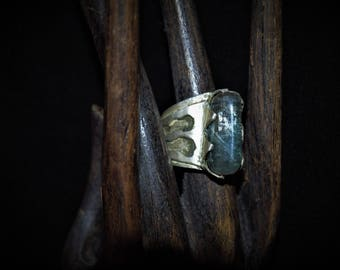 Silver ring KEA and aquamarine