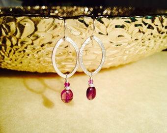 Amethyst earrings/ amethyst and silver earrings/ birthstone earrings/ February birthstone earrings/ amethyst dangle earrings