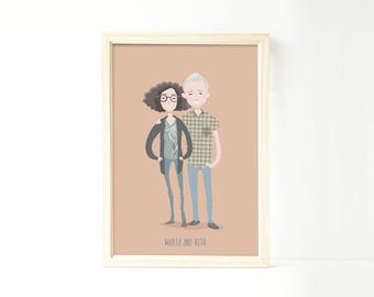 Custom portrait illustration, Custom couple illustration, personalized drawing, family illustration with pets, wedding portrait