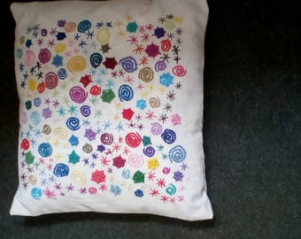 hand embroidered abstract cushion multicoloured