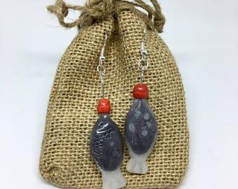 Soy sauce fish earrings