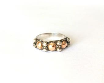 Vintage Sterling Silver & 18ct Gold Ball Bali Ring Size – T
