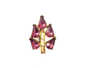 Antique Czech Art Deco Brass Clear & Purple Rhinestone Flower Pin Brooch