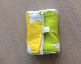 New Foldable Shopping Bag, Cotton Fabric Bag, Reusable Shopper Made of Marimekko Unikko Fabric, Green and Yellow Floral print