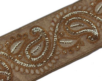 Peach Indian Laces indian Trims Saree Border Fabric Trim By The Yard Embroidered Sequin trim Ribbon Indian Sari Border gold-ACL001