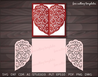 Wedding or Valentine Luxury Card Template for cutting (svg, dxf, studio3). Paper gate fold card, Instant Download.