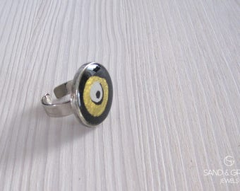 Black and gold evil eye ring, nazar round ring, statement ring, everyday adjustable ring, resin ring, OOAK enamel ring, Xmas gift for her