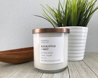EUCALYPTUS + MINT soy wax candle soy candle AromaVela Candle Co