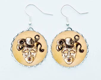 Venetian Mask Earrings Pendant Necklace Earrings Ring Pin Badge Masquerade Ball Eye Masque Bal Masqué Disguise Handmade Jewellery