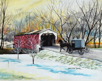 Amish Horse and Buggy Covered Bridge Watercolor (Print)