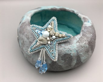 Starfish brooch, Sea animal pin, Blue white shiny jewelry accessory, Embroidered brooch pin, Corsage beaded pin, Mother day unique gift