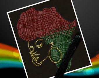 Africa Colors Afro Wakanda Black Panther Rhinestones Shirt