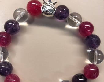 10mm semi-precious bead bracelet made with Amethyst, Clear Quartz and Pink Agate