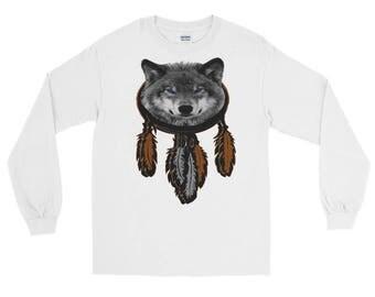 Wolf And Dream Catcher Long Sleeve Shirt