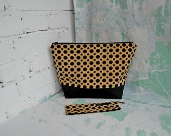 Zippered knitting bag Polka dot knitting bag DPN holder Crochet project bag Sock project bag Sock knitting bag Gift for knitters Needle case