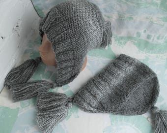 Mom and me hats Mother daughter hat Mom and me hoodie hat Baby hoodie hat Grey Forest fairy hood Fairy hat Hobbit hat Knitted hat Elf hat