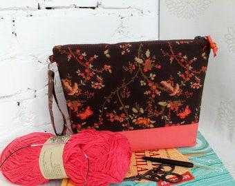Sock project bag Knitting bag Zippered knitting bag Crochet projects bag Yarn bag Storage bag Project Bag Needlework bag Gift for knitters