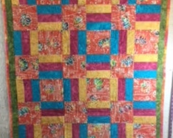 Indonesian Batiks Fence Rail lap quilt/wall hanging