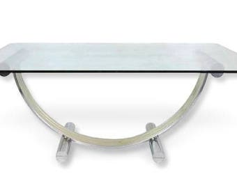 Romeo Rega Mid-Century Modern Glass and Chrome Large Dining Table