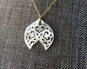 Mandala Mother of Pearl Necklace Gold Vermeil Chain