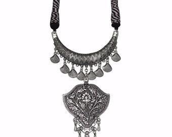Elegant Silver Oxidised Tribal Necklace