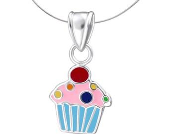 Children's Silver Cupcake Pendant