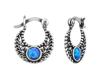 Silver Ethnic Opal Earrings
