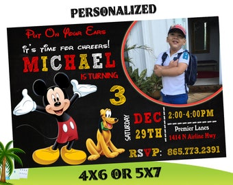 Mickey Mouse Invitations, Mickey Mouse Party Invitation, Mickey Mouse Printable, Micky Birthday Party