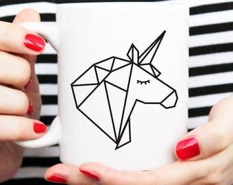 gift for her, gift for friend, unicorn lover, unicorn homegoods, geometric design, geometric mug, geo metric cup