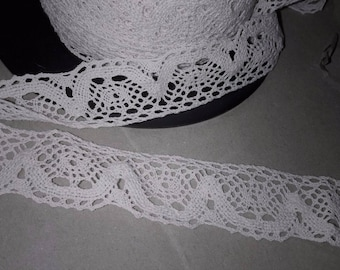 2 m of lace lace 100% cotton white-collar width 3.5 cm
