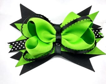 "6"" Green and Black Stacked Halloween Hair Bow 
