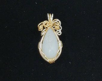 Iridescent White Druzy Quartz, Gold and silver colored wire wrapped Pendant