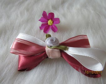 Dark pink and white girl bow