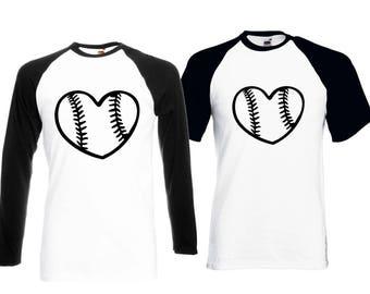 Baseball T-Shirt Love Baseball Shirt Baseball Heart Men's T-Shirt
